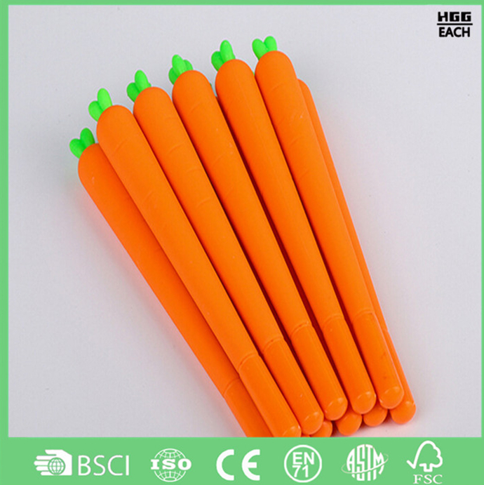 Customized carrot pen orange and green body with black refill small quantity also highly welcomed school gel ink pen