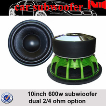 hot sell aluminum basket subwoofer dual 2 ohm 600w rms powered subwoofer 10 inch