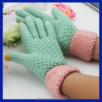 Yhao custom pink cuff light green two fingers winter warm touch screen gloves wholsale acrylic magic gloves for smartphone