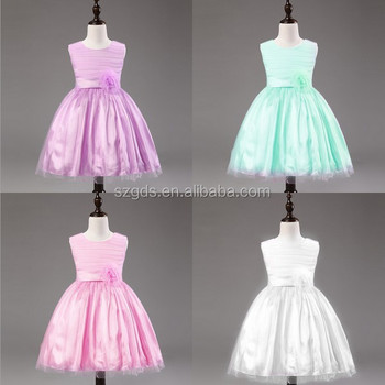 High quality 5 Colors one piece Flower Girl Dresses bowknot design sleeveless little girls birthday party dress