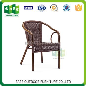 Balcony furniture stackable bamboo look aluminum rattan  wicker chair E6041S. Wholesale Balcony furniture stackable bamboo look aluminum rattan