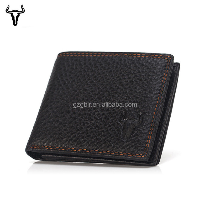 Lichee Pattern Bi-fold Custom Logo Personalized Classic Business Man Leather Wallets