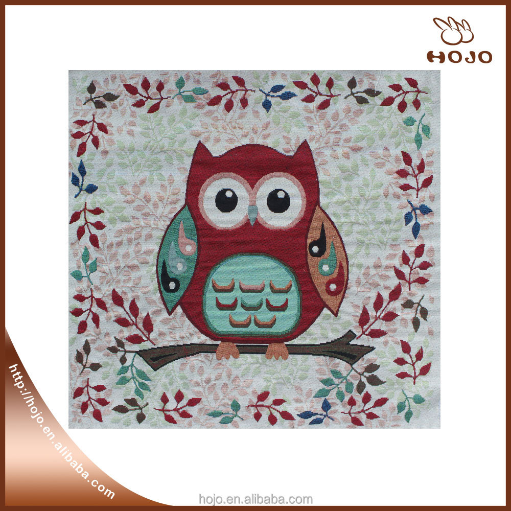 jacquard fabric owl pattern christmas bolster cushion cover red &green hand bag material