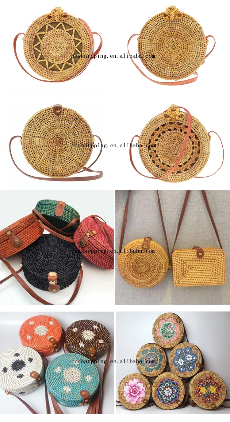 Wholesale Nature Indonesia Solid Rattan Basket Vietnam Beach Wooden Shoulder Bag Bali