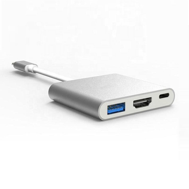 USB <strong>C</strong> to HD/MI 1080P Adapter USB 3.1 Hub Type-<strong>C</strong> to USB 3.<strong>0</strong>/ HD-MI/ Type <strong>C</strong> Female Charger Adapter for Macbook