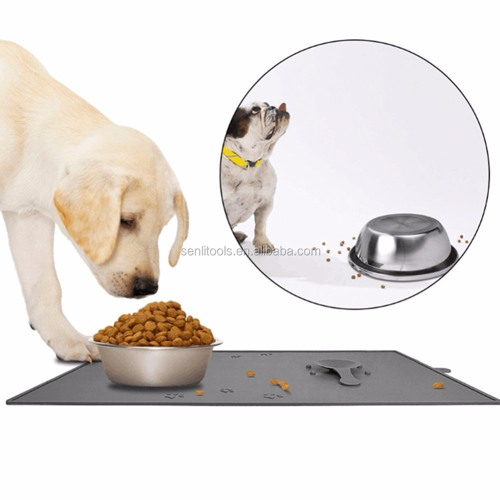 Food Grade Silicone Pet Food Mat with 2 Suction Cups Keep Bowls Steady Anti Spill Edge Cat Dog Feeding Tray 18.8 X 11.8""