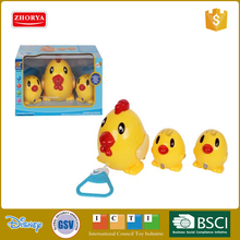 Plastic B/O animal toys lovely pull line chicken and Chick toys with music for kids