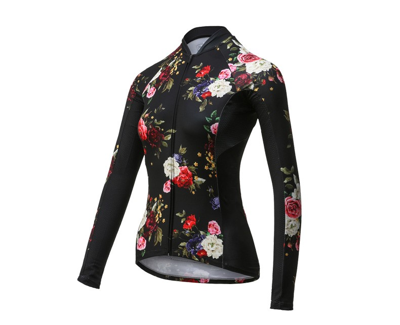 Custom-made sublimation black ground rose women cycling jersey top