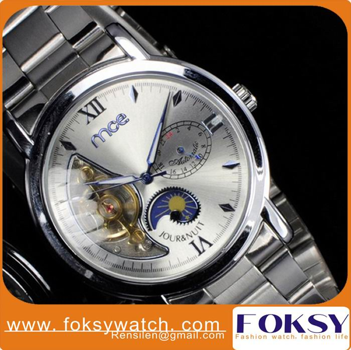 stainless steel mechancial tourbillon watches automatic movement