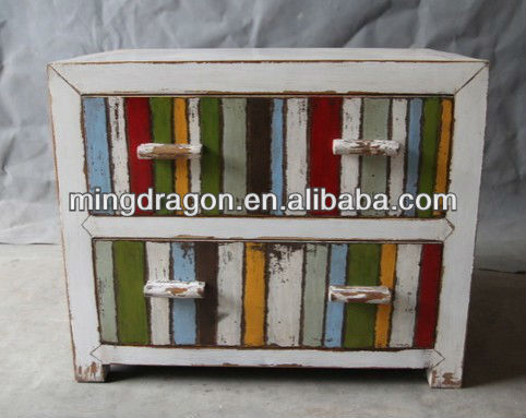 Chinese Antique Colorful Plates Wooden Storage Chest