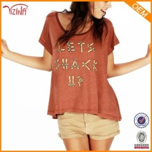China Clothing Imports Custom Printing Deep Round Neck T Shirts Made In Bangladesh