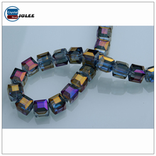 Yiwu glass beads faceted crystal glass square cube polished beads for bracelets