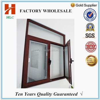 Latest design alluminium wooden grain glass pivot window buy direct from china manufacturer