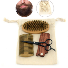 Bedst selling Beard Scissor Shear Natural Sandal Wood Folding Comb Bristles Bamboo Shaving Brush Kit with Canvas Bag