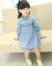 young girls autumn long sleeve cotton embroidered denim one piece dress