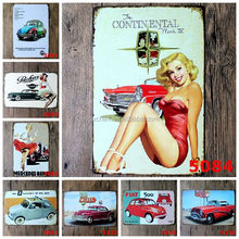 Wholesale Flat 500 Motel Car Pinup Lady Nostalgic Tin Sign Retro Wall Decor Vintage Craft Art Home Pub Bar Restaurant Decor