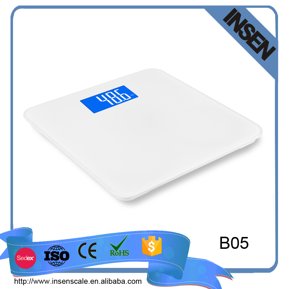 White big size 150kg 330lb easy read LCD display eletronic body weighing scale with blue background