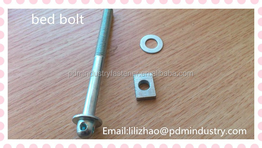 bed bolt ,carbon steel zinc plated bolt with four holes