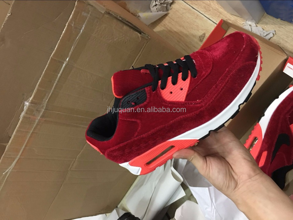Newest fashion style sport shoes men 90 red colours max styles running shoes hot on promotion sales