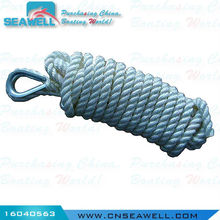 Polyester Three Strands Marine Rope for Sale Double Twisted Anchor Rope 16mm*8m Blister-White