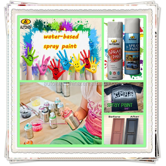 Autokem best seller water-based spray paint, child safe multicolor/acrylic/handy spray paint, water soluble spray paint