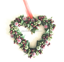New Arrival 20cm dia traditional high quality heart shaped christmas wreath