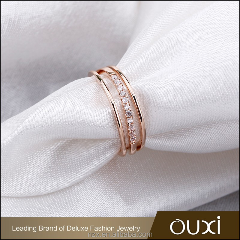 OUXI 2016 Fashion design wholesale price Gold plated AAA cz rings thailand 40188