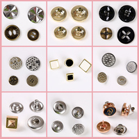 Metal snap button for jeans, press stud 4 holes shirt button, vintage alloy button for apparel woman