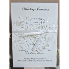 Factory manufacturer handmade paper craft laser cut wedding invitations with three pieces Acrylic diamond