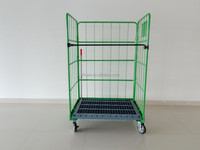 heavy duty foldable hotel laundry wire mesh storage roll container with wheels and pallet roll cage
