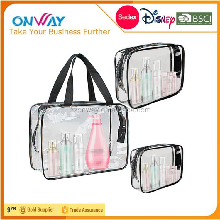 3 Pieces Clear PVC Toiletry Bag/Cosmetic Zipper Closure Travel Set with Handle