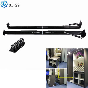 Furniture 2 in 1 folding desk with bookshelf fold out convertible cabinet dining table conceal lifting gas spring mechanism