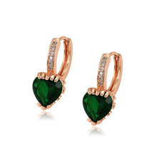 97524 Xuping fashion new design gold plated jewelry women heart shaped gemstone earring
