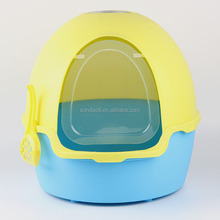 Customized colors,Beetle shape luxurious enclosed cat litter tray,heavy duty plastic cat litter box with scooper
