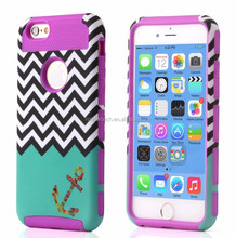For iphone 6 case,Wave Zigzag Design Hybrid Case with Soft Silicone Inner Case Patterned Hard Plastic Cover for iPhone 6 6 p