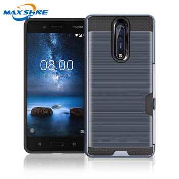 Maxshine 2018 new armor hard case for nokia 8 hybrid case, card slot holder for nokia 8 cellphone case
