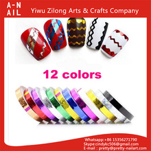 12 colors Nail Rolls Striping Tape Line Decoration Nail Art Tips Sticker DIY Manicure Set