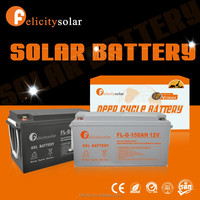 Rechargeable large capacity long lifespan built-in free maintenance GEL storage pv solar battery 12V 150AH for solar system