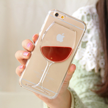 Phone Case For iPhone 4 4S 5 5S SE 5C 6 6S 7 Plus Dynamic Liquid Red Wine Transparent Hard PC Phone Back Cover Best Gift