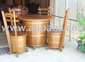 Beer barrel chair table set buy chair product on - Salon de jardin en tonneau ...