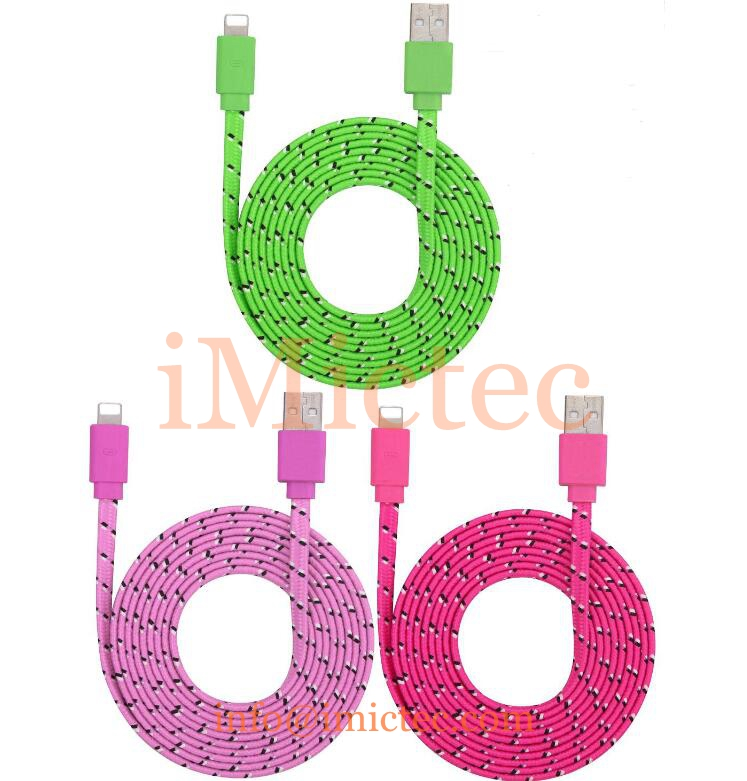8pin fabric braided flat noodle usb data charger cable accessory bundles for iPhone 5 5s 6 7 plus
