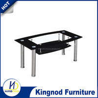 Black border top glass,all black bottom glass and stainless steel pipe coffee table