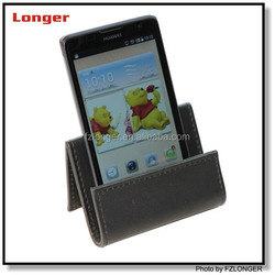 Pu leather handmade desktop mobile phone stand phone holder