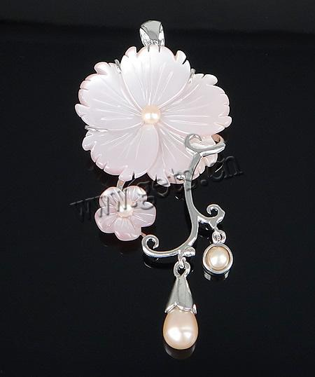 Gets.com brass shell of pearl flower pendant