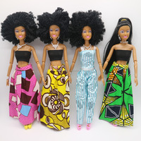 New arrival 11.5 inch Black Jointed African Girl doll