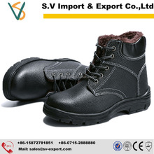 Winter leather safety work boots for men