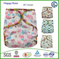 Happy flute diaper factory price polyester Bamoo cotton washable cloth diapers