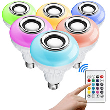 Wireless bluetooth light bulb speaker 4.0 RGB White Multi Color Musical Led Bulb with Remote Controller