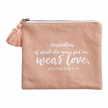 Wear Love Pink Canvas Pouch Women Cosmetic Bag