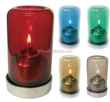 Aurora colorful glass shade stainless steel decoration oil candle table lamp